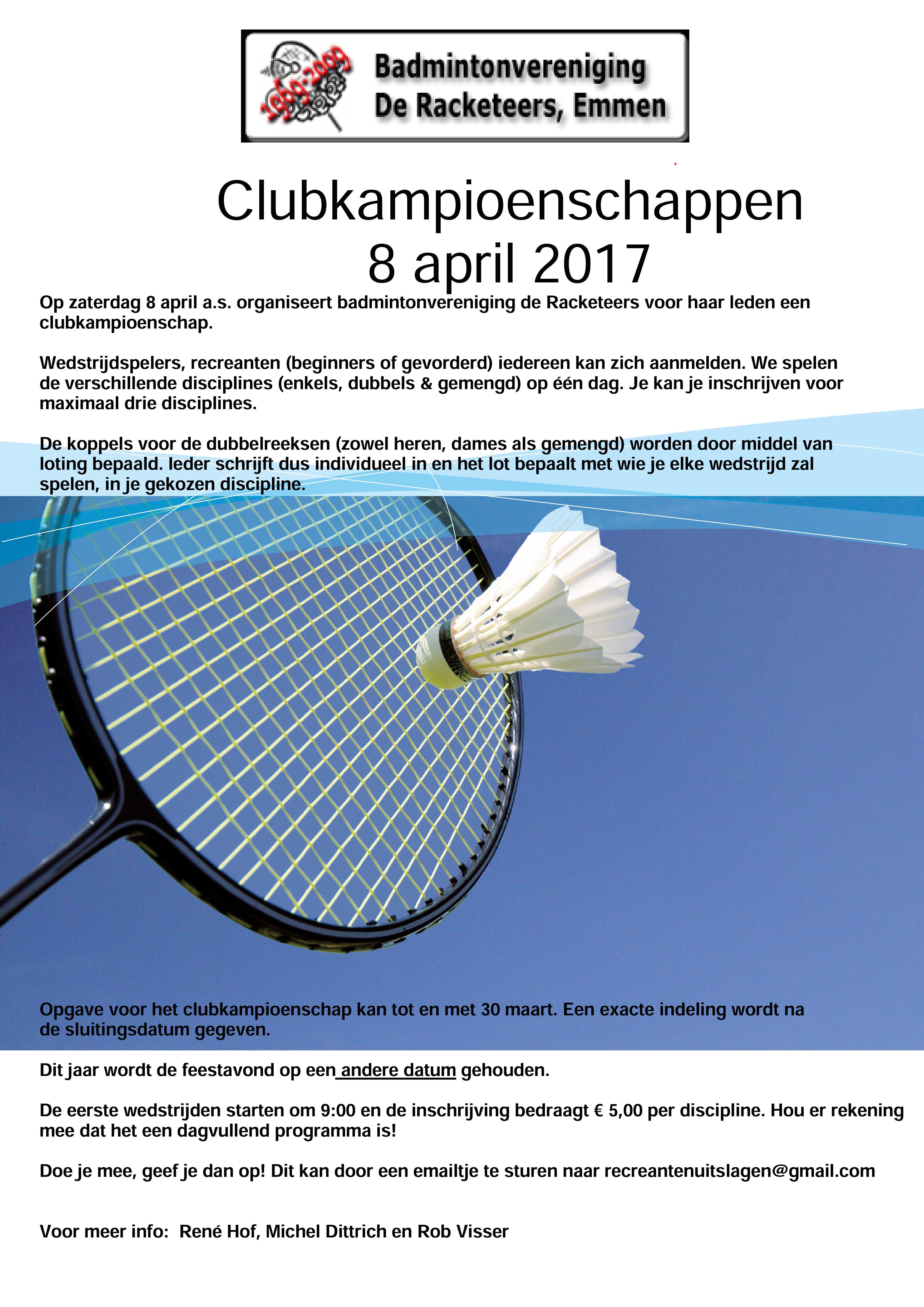 8 April 2017 Clubkampioenschappen